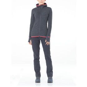 Icebreaker Descender LS Zip Hood Jacket Women Jet Heather/Prism